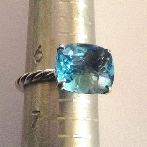 DY 12x10mm Blue Topaz Cable Ring Sz 6.5